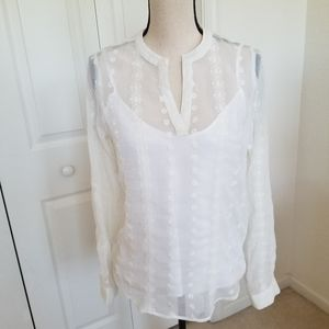 Cremieux Sheer Long Sleeved Top with Camisole